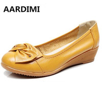 AARDIMI 100% Genuine Leather Women Shoes High Heels Black Slip On Moccasins Casual Wedges High Heeled Shoes Women Pumps