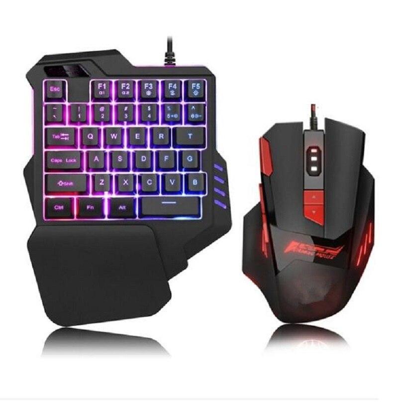 Fanshu Mechanical one handed keyboard hand game artifact left hand game keypad Mouse for Game LOL /Dota / PUBG / Fortnite Black