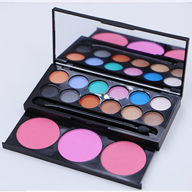 12 Color Eye Shadow +3 Color Blusher Box Exquisite Cosmetic Long Lasting Natural Eye Shadow Beauty Makeup Products