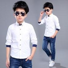 Рубашки для маленьких мальчиков новая осенняя хлопковая Детская рубашка с круглым вырезом костюм для мальчиков повседневная детская одежда с длинными рукавами 7bs002
