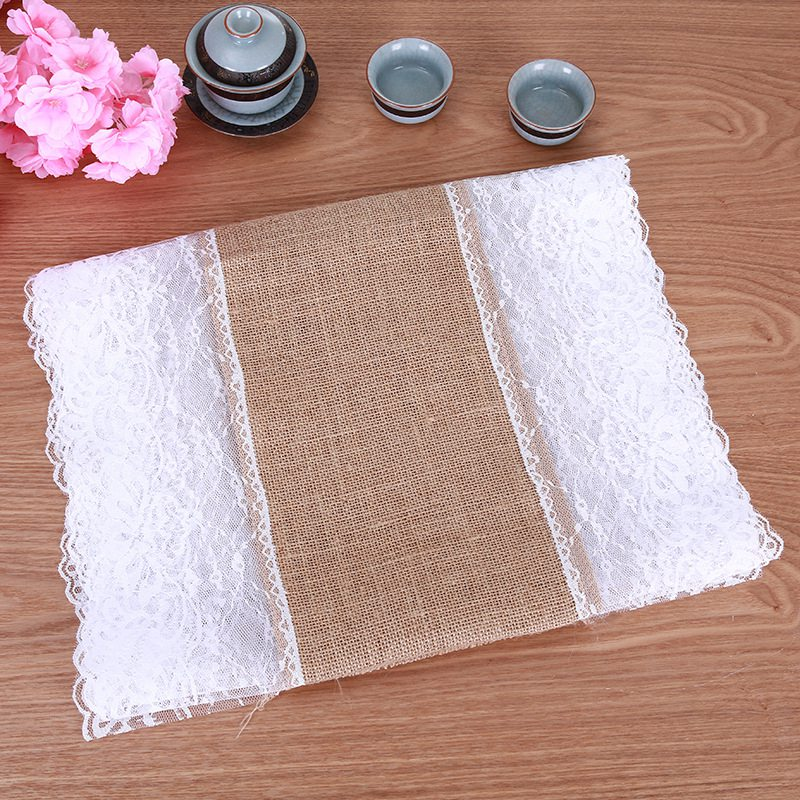 Yellow Linen Lace Table Flag Lace Table Flag Tablecloth Christmas Party Craft Wedding Decoration