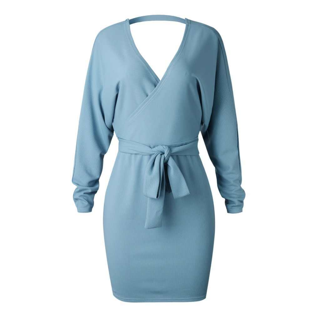 Осенне-зимний вязаный свитер, сексуальная открытая спина, v-образный вырез, длинный рукав, повседневная бандажная теплая туника, женские платья, Vestidos