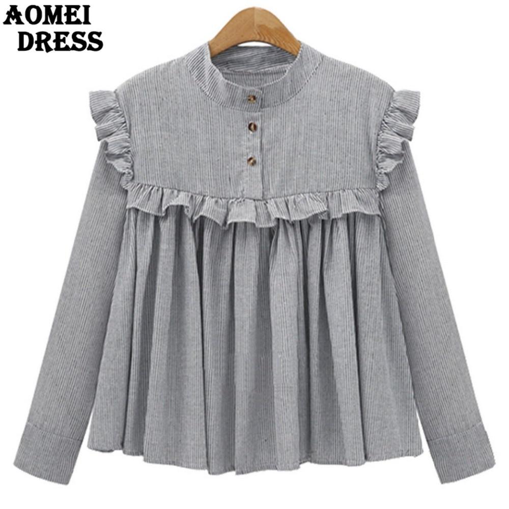 Shirt design images 2017 - 2017 Spring Plaid Cotton Women Vintage Blouse With Ruffles Trim Pleat Lady Oversized Design Shirts Casual