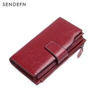 Sendefn New Arrival Clutch Retro Wallet Split Leather Wallet Female Long Wallet Women Zipper Purse Card