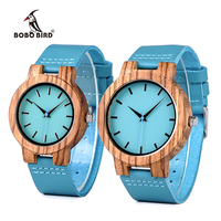 BOBO BIRD Wood Lovers Watches Timepieces Luxury Blue Leather Strap Casual Quartz Watch For Men And