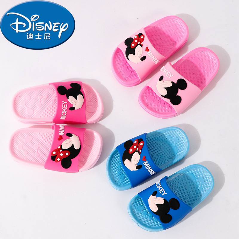 Disney Baby Children's Slippers Summer Cartoon Indoor Soft Bottom Bathroom Bath Parent-child Minnie Word Sandal