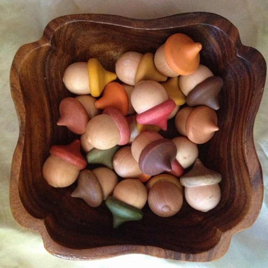 10pcs Novelty Waldorf Acorns DIY Plain Unfinished Wood Cute Kids Fashion Craft Accessories