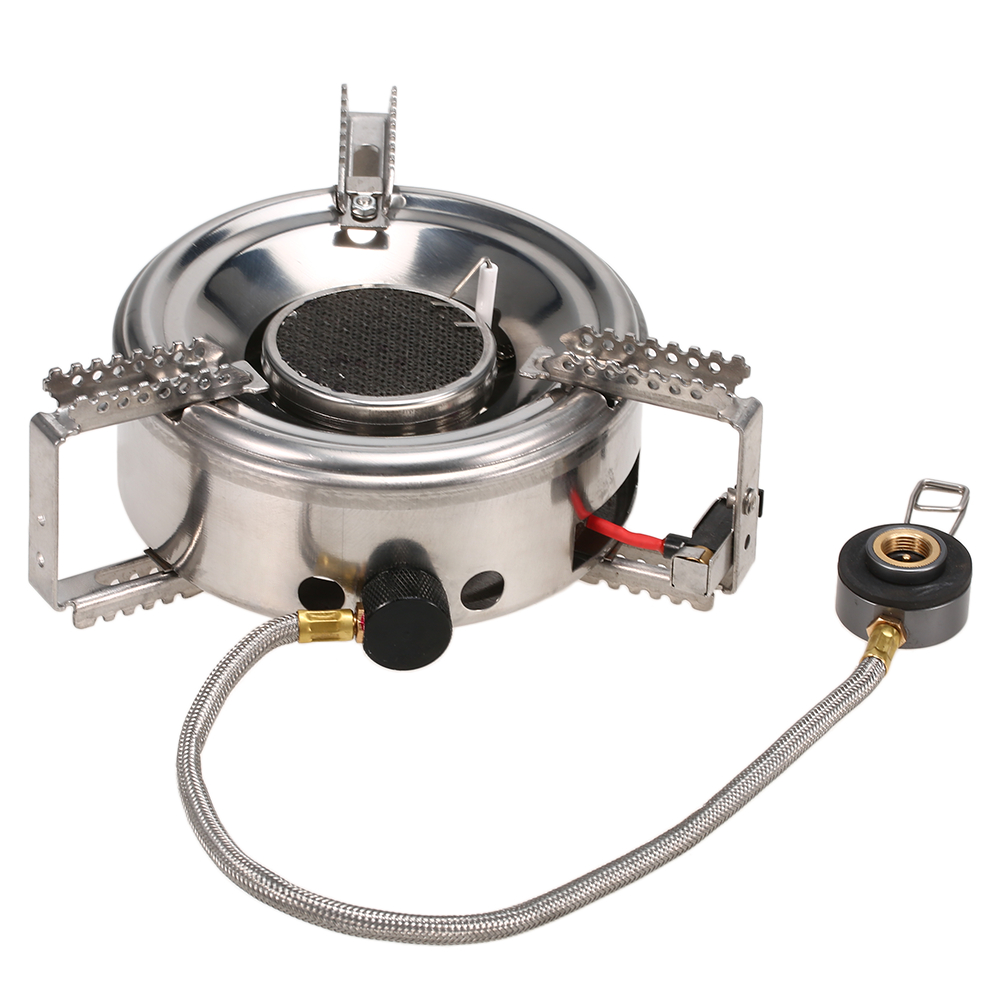 Outdoor Mountaineering Camping Cooking Big Power Windproof Gas Stove Head Butane Burner Infrared Heating Stove Split