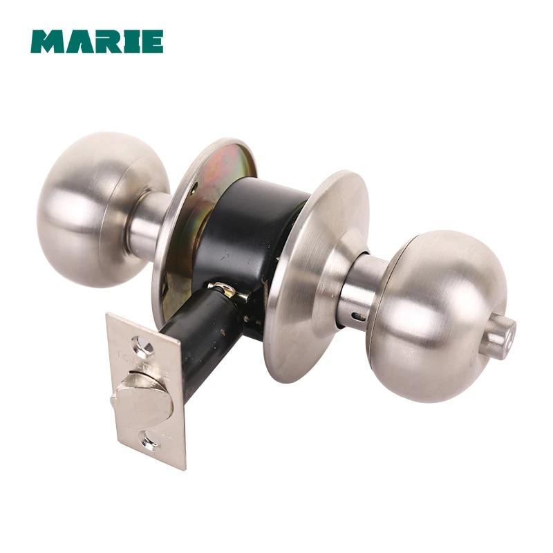 Stainless Steel Round Lever Handle Knob Knobs Door Lock bedroom bathroom locks
