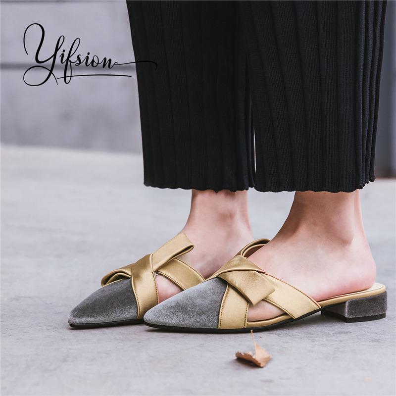 OLOME New Retro Spring Summer Shoes Woman Slippers Pointed Toe Butterfly-knot Women Shoes Slippers Mules Shoes Woman