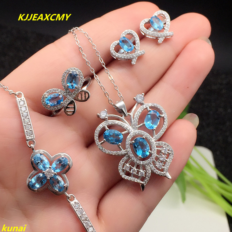 KJJEAXCMY boutique jewels 925 silver inlay natural blue topaz ring pendant earrings bracelet 4 suit send Necklace kjjeaxcmy boutique jewels 925 silver inlay natural pink topaz ring pendant earrings bracelet 4 suit jewelry necklace sen