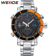 WEIDE Stainless Steel Watch Men Auto Date Waterpoof Casual Clock Silver Band Analog-digital Display Sports Wristwatch / WH5203