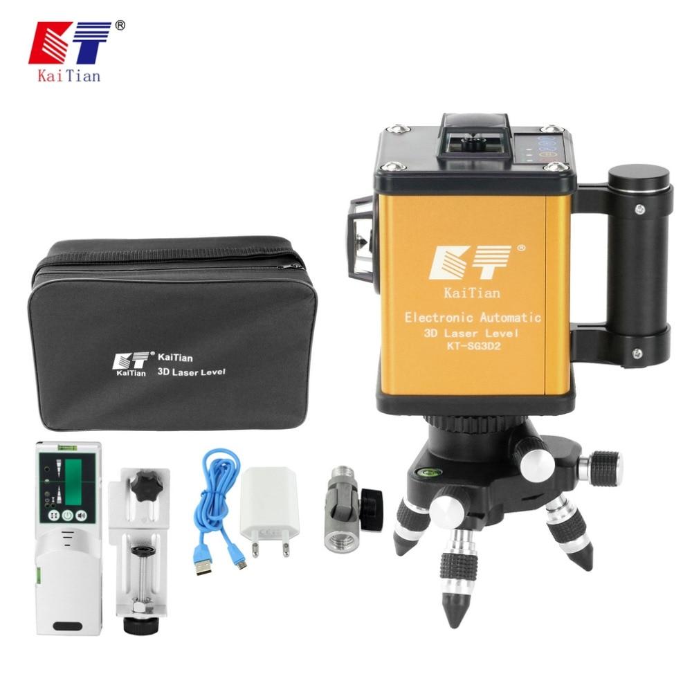 KaiTian Auto-Nivellement Laser Niveau 12 Lignes 360 Rotatif Vert En Plein Air Électronique Automatique 520nm Faisceau Ligne Livella Lasers 3D outils