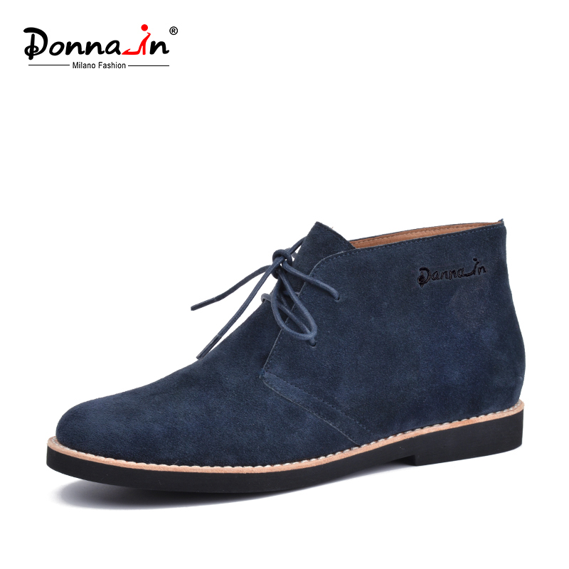 Donna in 2018 new collections dark blue cow suede casual boots lace up martin shoes genuine leather ankle boots flat women boots
