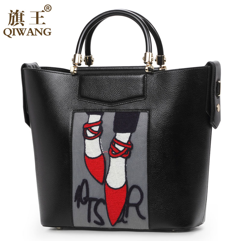 Qiwang Large Handbags Women Bags Real Leather Big Tote Luxury Brand Designer Handbag France Lady Shoulder