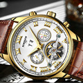 Повседневная Мода мужские Часы Мужчины Люксовый Бренд Автоматическая Кожаный Ремешок Механические Часы Vintage Reloj Платье Relógio Masculino