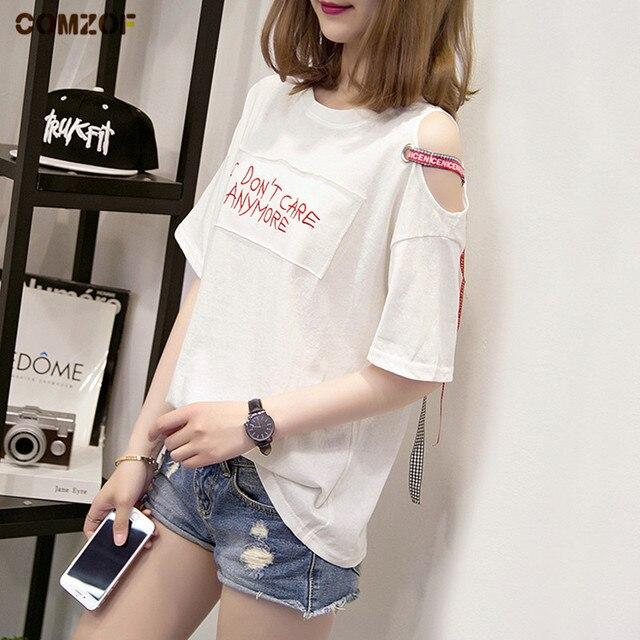 e4e8a6054ae US $12.99 |2018 Summer women new t shirt off shoulder ribbon short sleeve  tshirt womens fashion korean patchwork tops camiseta feminina-in T-Shirts  ...