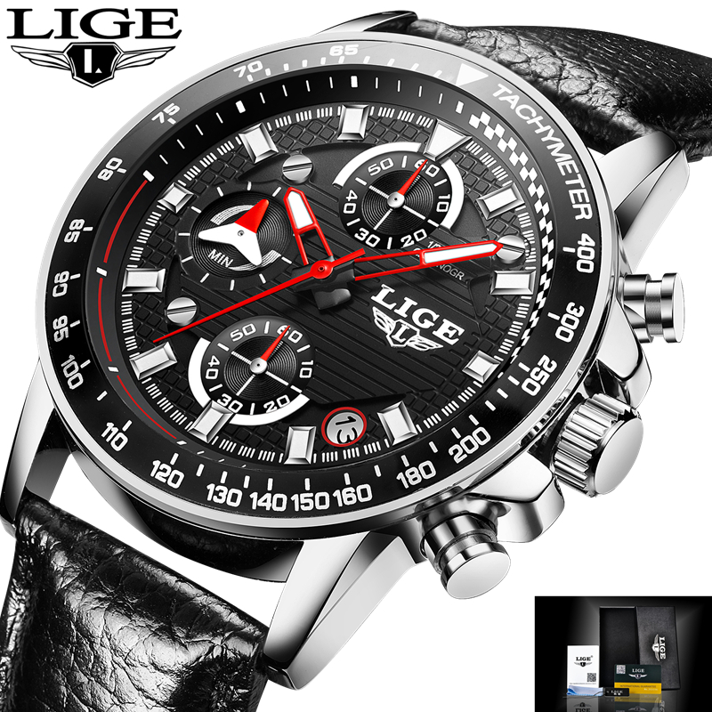 LIGE Brand Men Leather Strap Military Watches Mens Chronograph Waterproof Sport Date Quartz Wristwatch Gifts relogio masculino