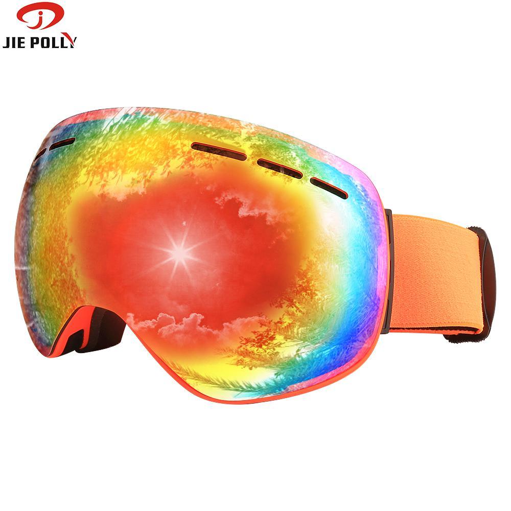 Jiepolly Ski Goggles Double Layers UV400 Anti-fog Big Mask Glasses Skiing Men Women Snow Snowboard Goggles