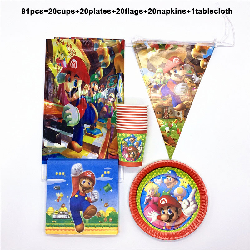 Super Mario Theme Tableware Set Birthday Party Decorate Napkins Plates Cups Baby Shower Table Cover Hanging Banner 81PCS/LOTSuper Mario Theme Tableware Set Birthday Party Decorate Napkins Plates Cups Baby Shower Table Cover Hanging Banner 81PCS/LOT
