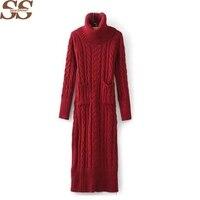 Winter Women Sweater Dress Korean High Necked Long Slim Twist Thick Knitted Sweater Dress Bottoming Women Winter Dress