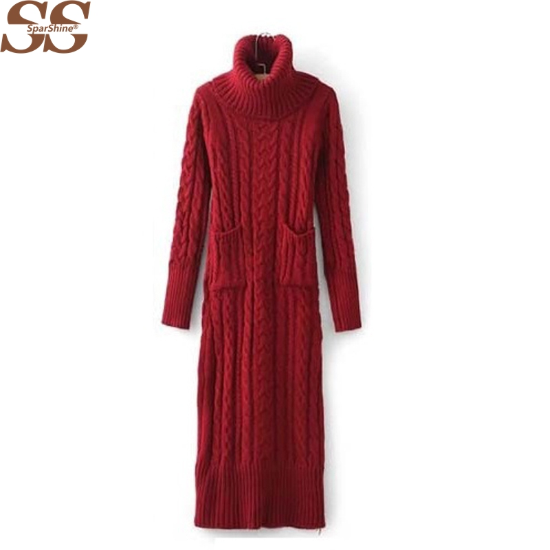 Winter Women Sweater Dress Korean High-Necked Long Slim Twist Thick Knitted Sweater Dress Bottoming Women Winter Dress