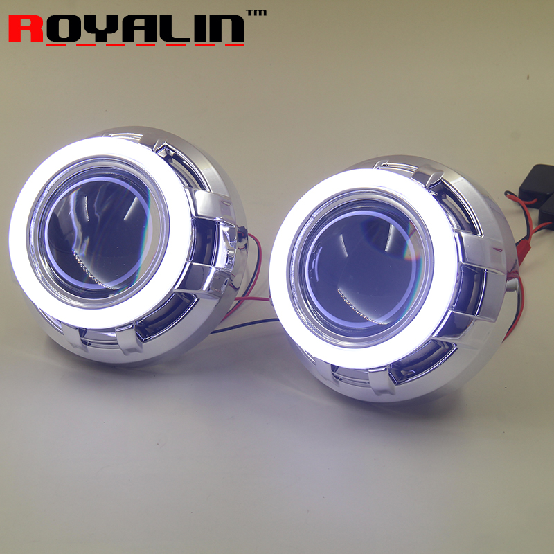 ROYALIN Car Styling Metal Bi Xenon H1 Projector Headlights Lens Cotton Light Angel Eyes Shrouds for H4 H7 Auto Lamps Retrofit royalin car styling hid h1 bi xenon headlight projector lens 3 0 inch full metal w 360 devil eyes red blue for h4 h7 auto light