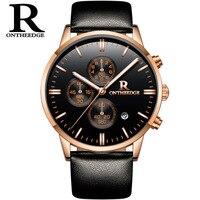 ONTHEEDGE R עור עמיד למים שעונים ספורט קוורץ גברים יוקרה לצפות שעון מותג זכר שעון קוורץ הצבאי Hodinky relogio