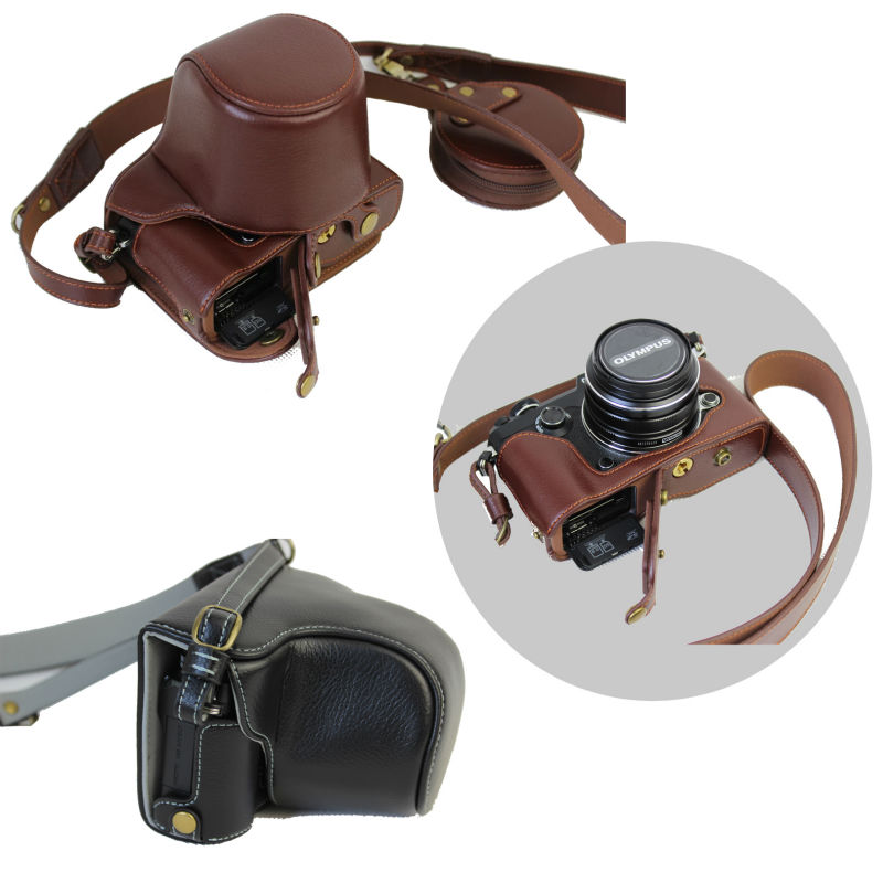 Vintage Genuine Leather Camera Case Bag Body For Olympus Pen F Pen F PENF With Strap