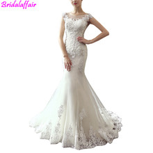 Mermaid Wedding Dress 2019 Sex Sleeveless See Through Neck Appliqued Lace Up White Ivory Wedding Dresses Princess bridal gown creativesugar see through lace mary jane vintage style med low heels bridal wedding party prom black white ivory pink shoes