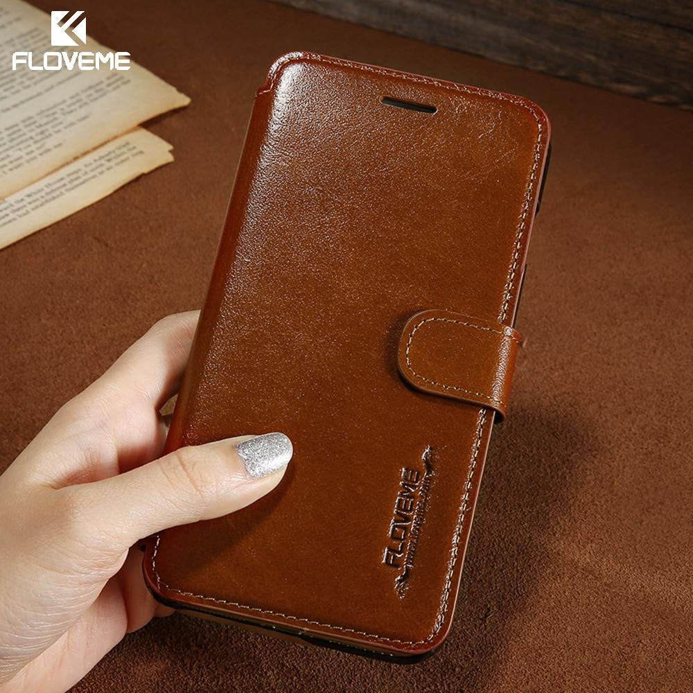 FLOVEME Retro Real Genuine Leather Case Telefone Para o iphone 6 7 6 S casos Para iPhone 6 Plus 6 S Plus Cash Card Titular Virar Capa Capa