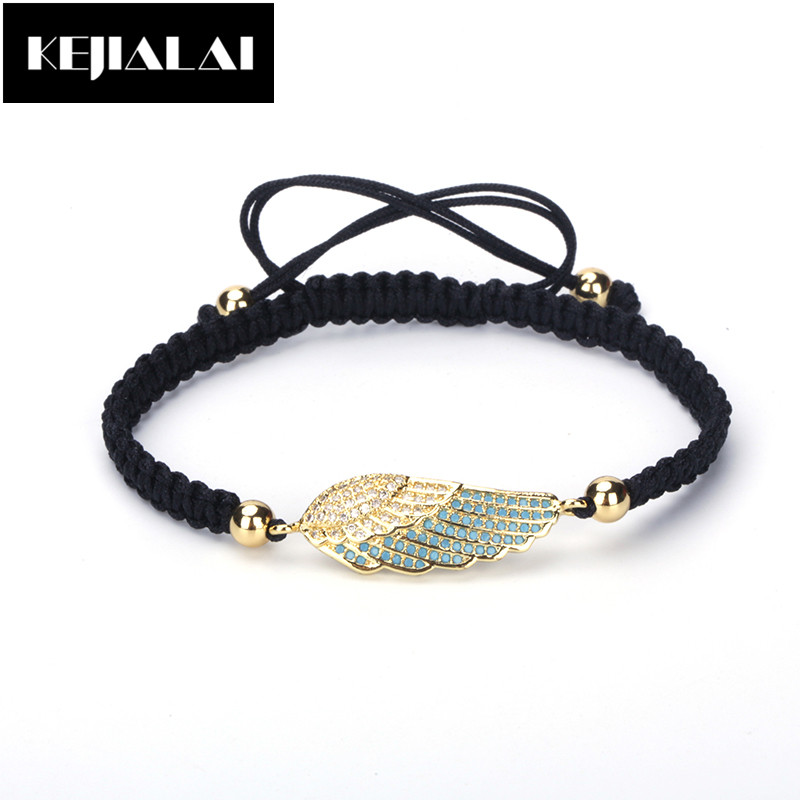 Hot Sale Women Bracelet Simple Sweet Style Angel Wing Charm Paved with Rhinestone Feather Pendant Black Braided Macrame Bracelet