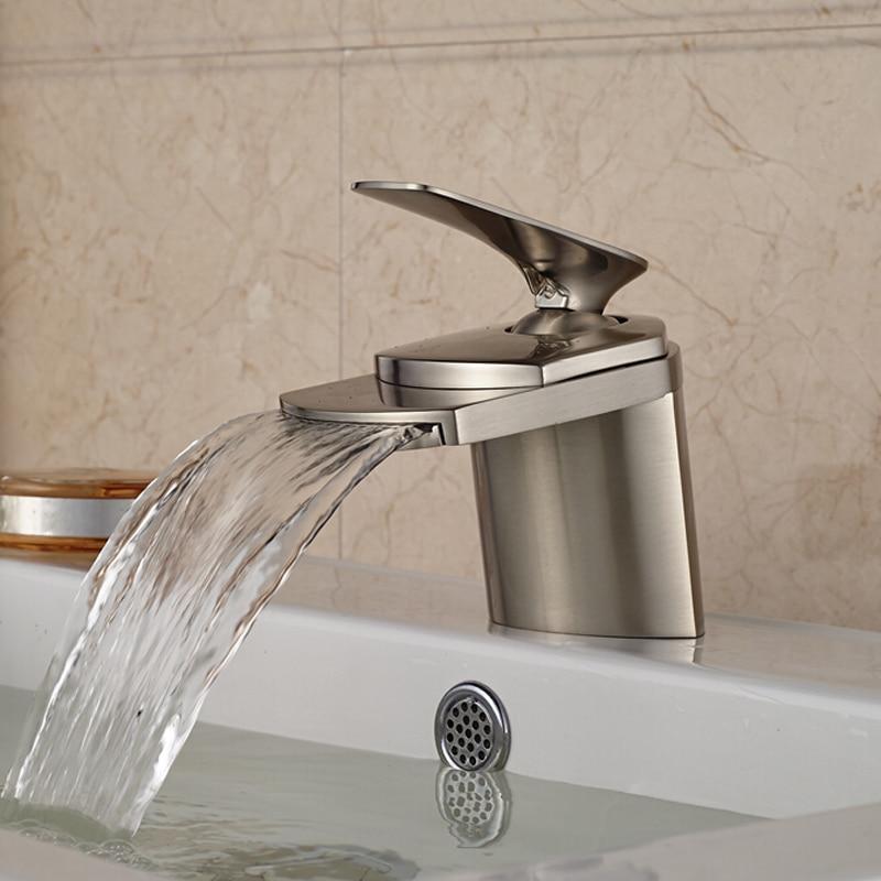 Newly Nickel Brushed Waterfall Bathroom Vanity Sink Basin Faucet Single Handle Vessel Sink Tap newly nickel brushed bathroom sink faucet cold