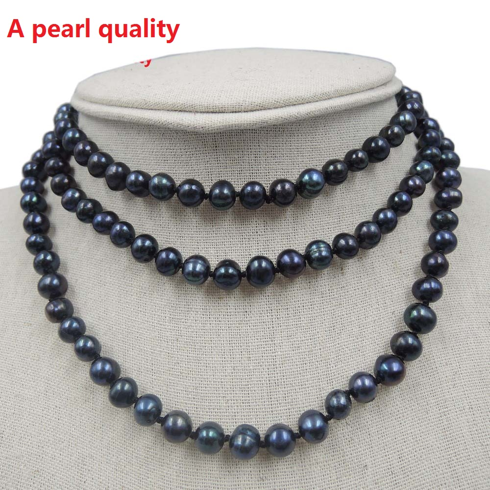 100%NATURE FRESHWATER AAA PEARL LONG NECKLACE-120 - ファッションジュエリー - 写真 3