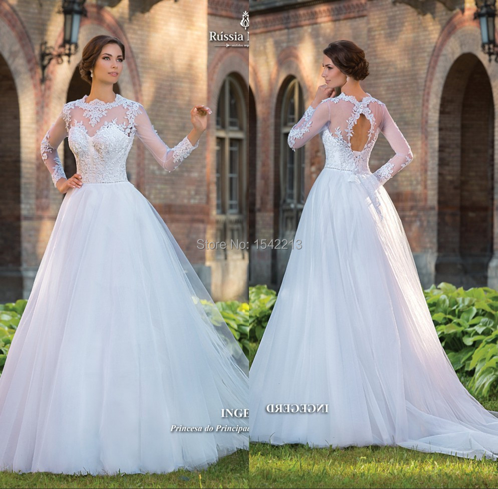 2017 Best Ing High Neck Long Sleeves Wedding Dress Y Open Back Bride Gowns With Detachable Train In Dresses From Weddings Events On