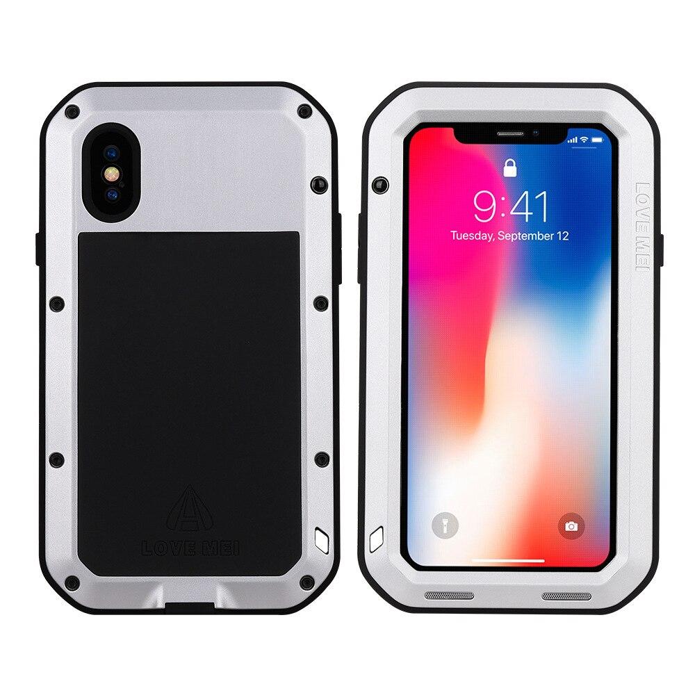Для iphone XS Max XR X чехол для телефона сверхмощная Защитная обшивка из металлического твердого закаленного стекла iphone xs xsmax полная силиконовая крышка для телефона - Цвет: Silver