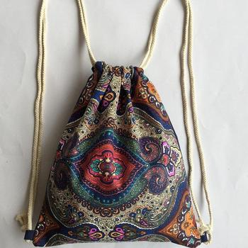 National Boho Beach Women Canvas Drawstring Backpack Vintage Students School Bag 1