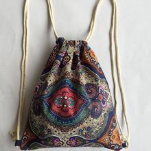 National Boho Beach Women Canvas Drawstring Backpack Vintage Students School Bag