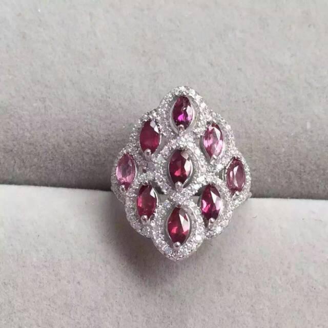 Natural red garnet gem Ring Natural gemstone ring 925 sterling silver trendy Luxury round circle flowers women girl gift Jewelry цены онлайн