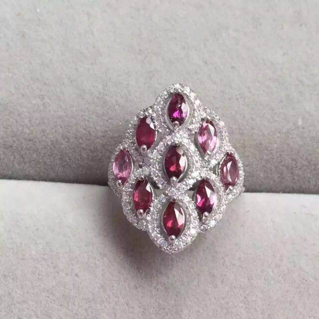Natural red garnet gem Ring Natural gemstone ring 925 sterling silver trendy Luxury round circle flowers women girl gift Jewelry
