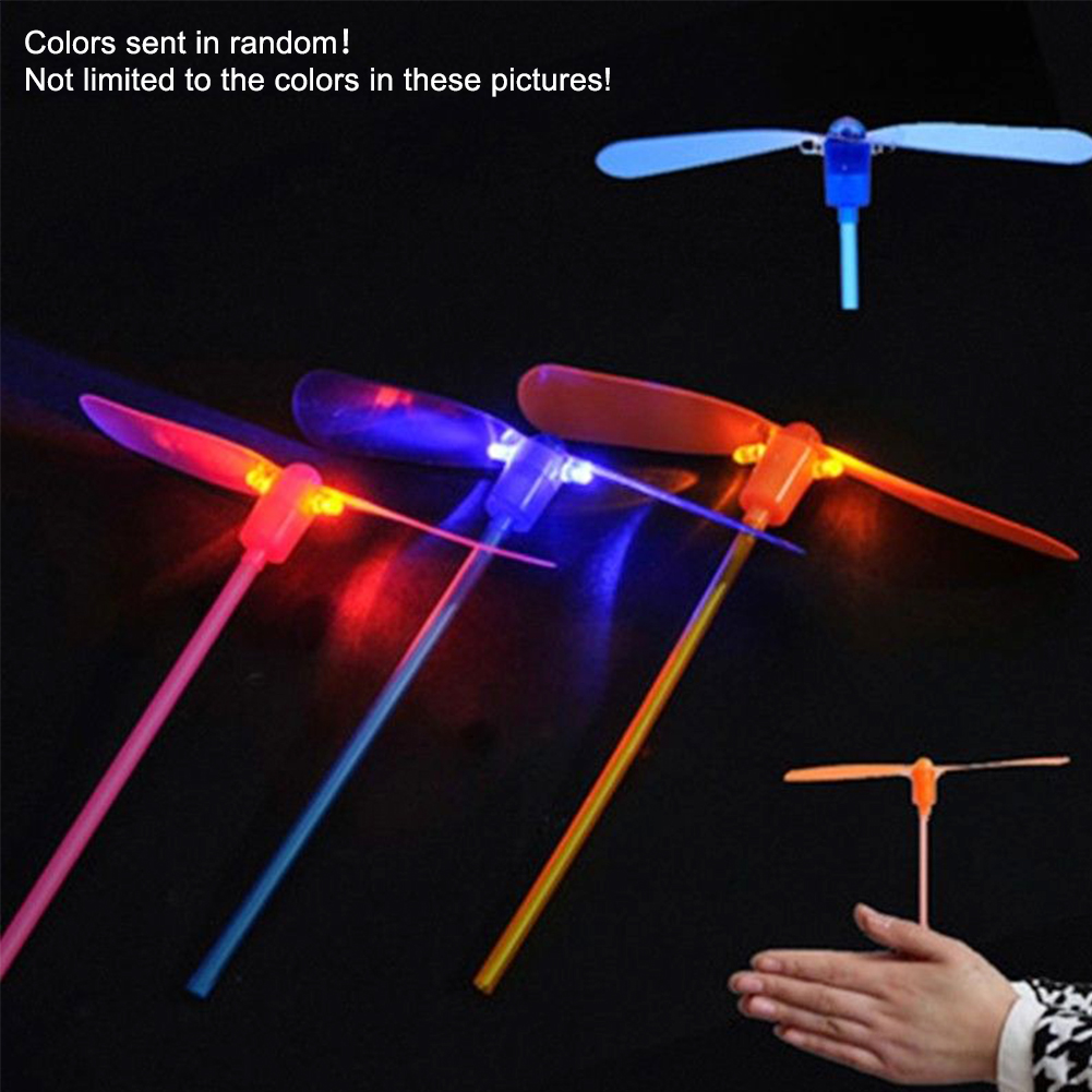 Toy Outdoor LED Lighting ABS Material Hand Push Gifts Flying Funning Bamboo Dragonfly