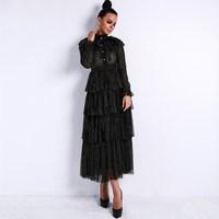 Sexy Women Long Sleeve Flash See Through Maxi Dress Full Elegant Ruffles High Neck Party Dress