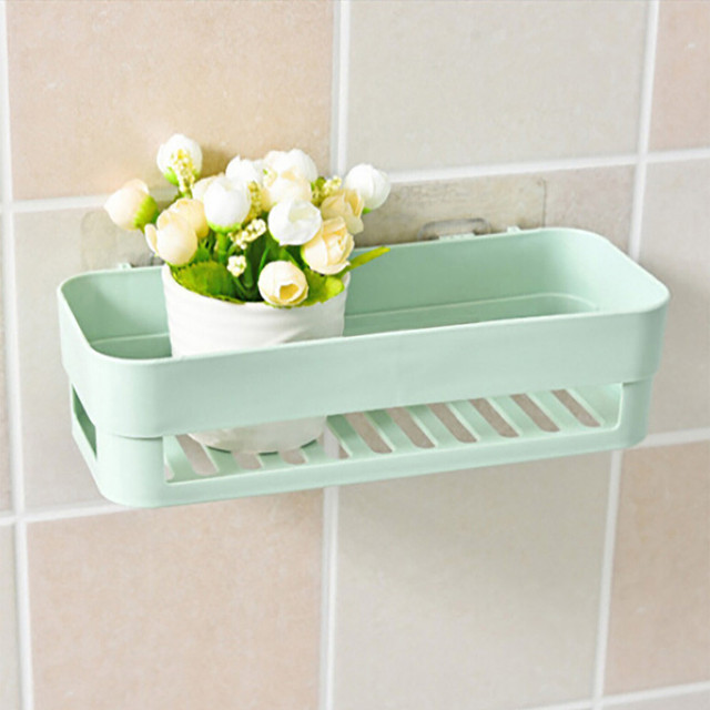 1PCS Kitchen Bathroom Shelf Wall Rack With 2 Suckers Plastic Shower Caddy Organizer Holder Tray Suction Cups Lotion L5