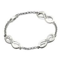 Персонализированные Бесконечность имя браслет серебро пользовательские тройной знак бесконечности Семья браслет с несколькими имена для ...