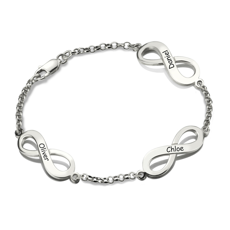 AILIN Personalized Infinity Name Bracelet In Silver Custom Triple Infinity Sign Family Bracelet with Multiple Names for Mom infinity owl elephant layered bracelet