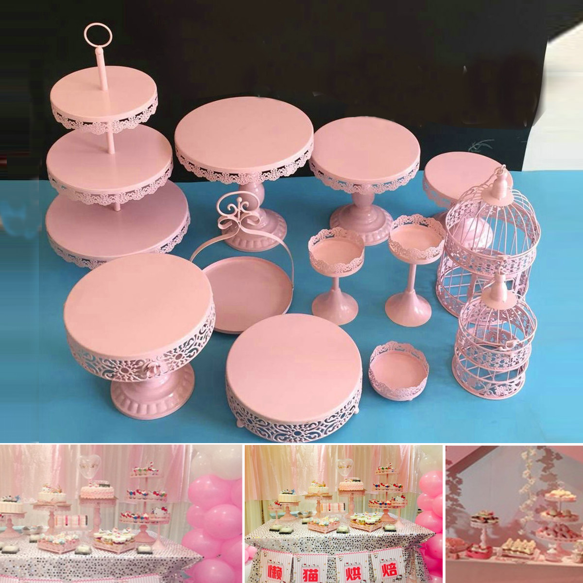 Metal Crystal Cake Stands Holder Cupcakes Dessert Display Serving ...