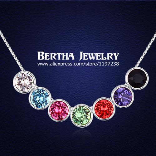 Moda diseñador de la marca collar de gargantilla de colores colgante con Swarovski Elements cristal Collares Mujer Bijoux mujeres accesorios