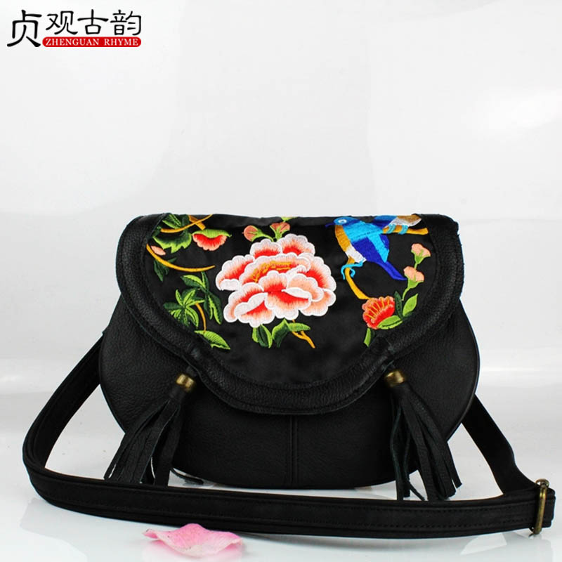 NoEnName Summer new Yunnan Miao National Handmade ethnic flowers embroidery Tassel ladies crossbody bags women messenger bags noenname 2018 summer new miao handmade bucket bags ethnic flowers embroidery canvas backpack women bags female national