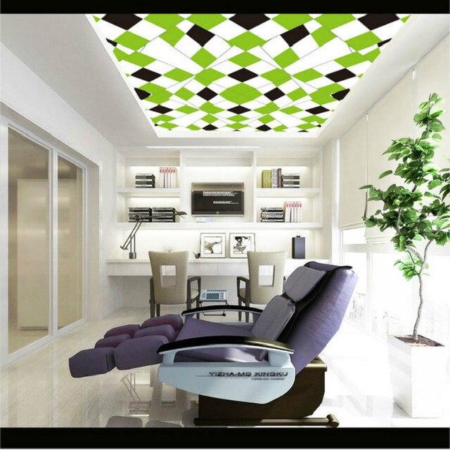 Frais Vert Motif Géométrique Plafond Fresques Papier Peint Pour