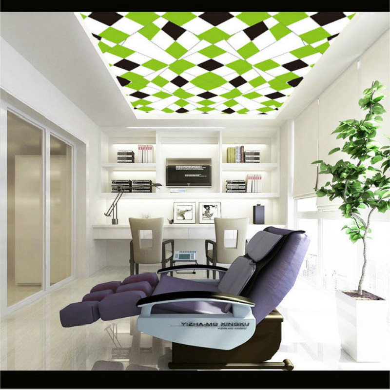 Fresh green geometric pattern ceiling frescoes wallpaper for ceiling murals living room bedroom study paper 3D wallpaper 3d wood man football background 3d wallpaper murals living room bedroom study paper 3d wallpaper